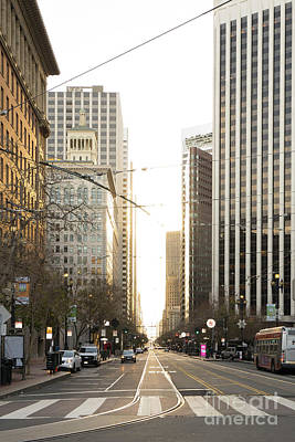 Photograph - End Of Market Street At San Francisco Embarcadero Looking Towards The Setting Sun Dsc6893ver by Wingsdomain Art and Photography
