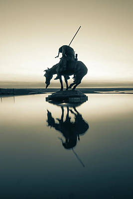 Landmarks Royalty Free Images - End of the Trail Statue Silhouette - Top of the Rock Reflections in Sepia Royalty-Free Image by Gregory Ballos