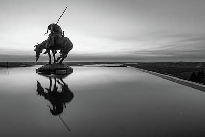 Landmarks Royalty Free Images - End of the Trail Statue Silhouette - Top of the Rock Sunset Reflections in Black and White Royalty-Free Image by Gregory Ballos