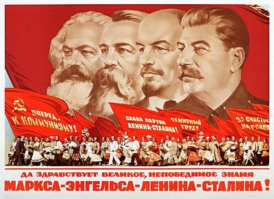Painting - Marx, Engels, Lenin And Stalin, 1953 Propaganda Poster by A Kossov