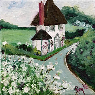 English Countryside White Cottage Original