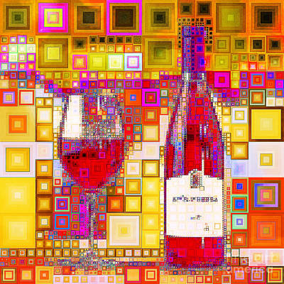 Photograph - Enjoy Wine In Abstract Squares 20190131a Square by Wingsdomain Art and Photography
