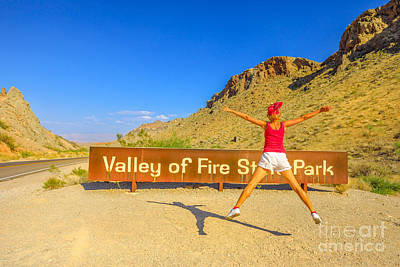 Photograph - Enjoying At Valley Of Fire Sign by Benny Marty