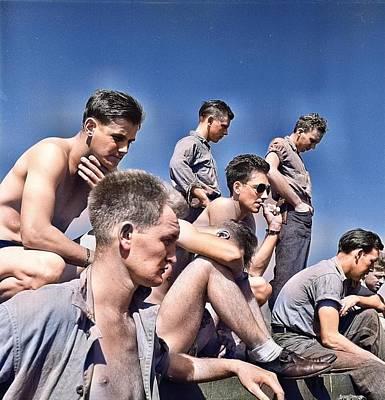 Claude Monet - Enlisted_men_aboard_USS_Lexington_ CV-16 _during_operatiEnlisted Crewmen gathered aboard USS Lexingt by Ahmet Asar