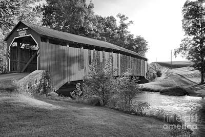 Photograph - Enslow Bridge Over Sherman Creek Black And White by Adam Jewell