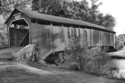 Photograph - Enslow Covered Bridge Black And White by Adam Jewell