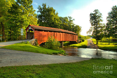 Photograph - Enslow Covered Bridge Landcape by Adam Jewell