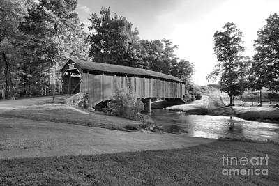 Photograph - Enslow Covered Bridge Landscape Black And White by Adam Jewell