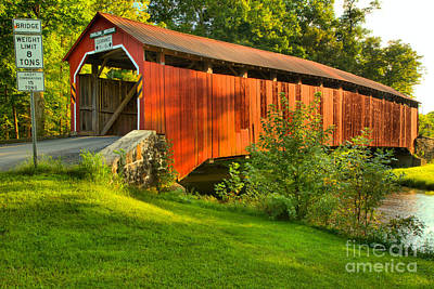Photograph - Enslow Covered Bridge Lush Landscape by Adam Jewell