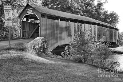 Photograph - Enslow Covered Bridge Lush Landscape Black And White by Adam Jewell