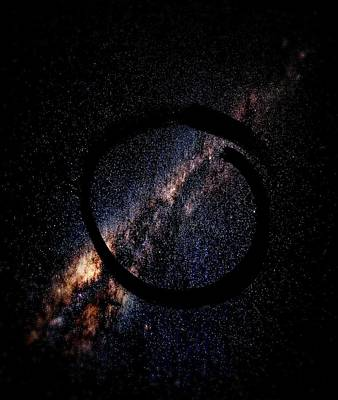 Mixed Media - Enso Galaxy - Zen Circle Abstract  by Marianna Mills