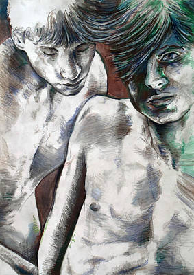 Art Print featuring the painting Entanged Boys by Rene Capone