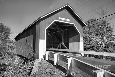 Photograph - Entering The Carleton Covered Bridge Black And White by Adam Jewell