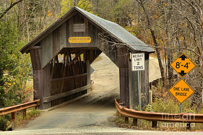Photograph - Entering The Stowe Hollow Covered Bridge by Adam Jewell