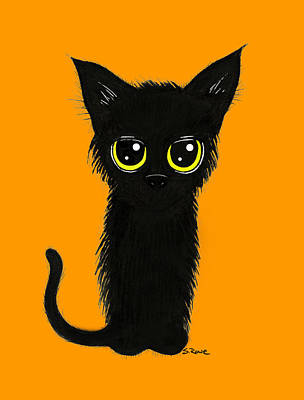 Drawing - Enthralling Black Kitty by Shawna Rowe