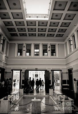 Photograph - Entrance Getty Villa Santa Monica California Bw by Chuck Kuhn