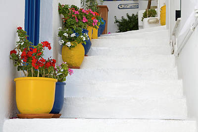 Mykonos Photograph - Entrance Stairs To Hotel Lefteris by Richard Cummins