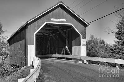 Photograph - Entrance To The Carleton Covered Bridge Back And White by Adam Jewell