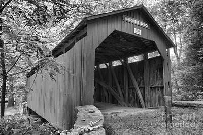 Photograph - Entrance To The Wagoner Covered Bridge Black And White by Adam Jewell
