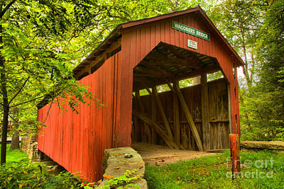 Photograph - Entrance To The Wagoner Covered Bridge by Adam Jewell