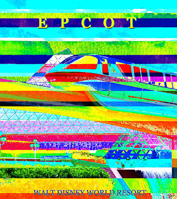 Royalty-Free and Rights-Managed Images - Epcot retro modern art by David Lee Thompson