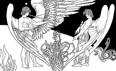 Drawing - Ephraim Moses Lilien Illustration Of The Angels, Gabriel On Left And Satan On The Right by Ephraim Moses Lilien