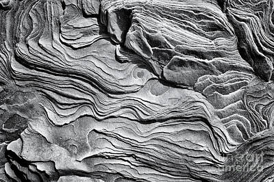 Photograph - Eroded Sandstone Monochrome by Tim Gainey