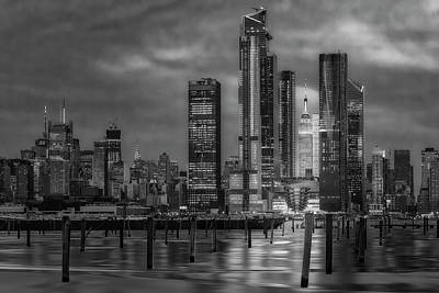 Photograph - Esb Nyc Hudson Yards Skyline Bw by Susan Candelario