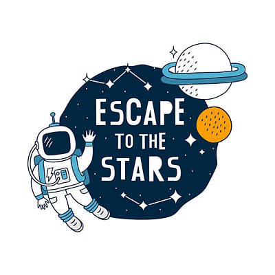 Drawing - Escape To The Stars - Baby Room Nursery Art Poster Print by Dadada Shop