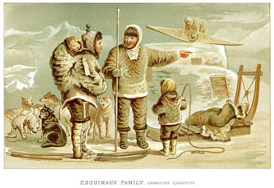 Traditional Clothing Digital Art - Eskimo Family by Duncan1890