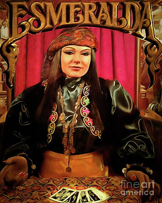 Photograph - Esmeralda Psychic Gypsy Palm And Tarot Card Fortune And Future Reader Penny Arcade Nostalgia 2018122 by Wingsdomain Art and Photography