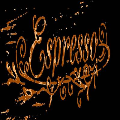 Painting - Espresso Coffee Artistic Typography by Taiche Acrylic Art