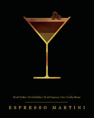Digital Art - Espresso Martini Cocktail - Classic Cocktails Series - Black and Gold - Modern, Minimal Decor by Studio Grafiikka