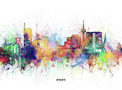 Abstract Skyline Royalty-Free and Rights-Managed Images - Essen Skyline Artistic by Bekim M