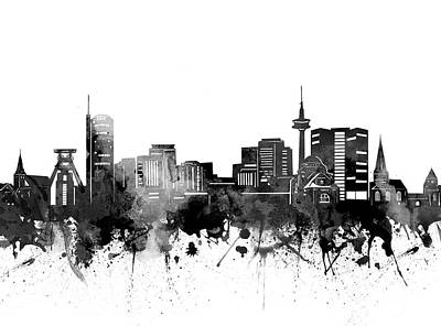Abstract Skyline Royalty-Free and Rights-Managed Images - Essen Skyline Bw by Bekim M