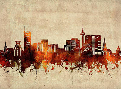 Abstract Skyline Royalty-Free and Rights-Managed Images - Essen Skyline Sepia by Bekim M