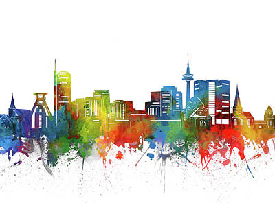 Abstract Skyline Royalty-Free and Rights-Managed Images - Essen Skyline Watercolor 2 by Bekim M