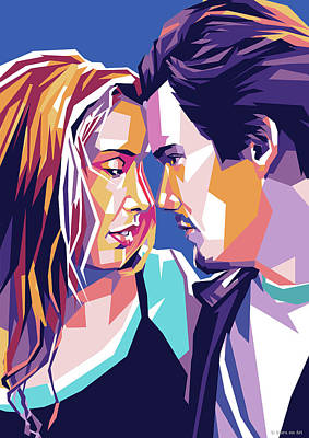 Classic Cocktails - Ethan Hawke and Julie Delpy by Stars on Art