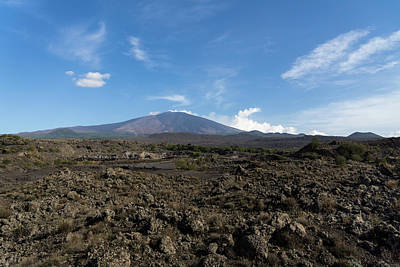 Photograph - Etna Did This - The Lava Fields And The Volcano  by Georgia Mizuleva