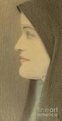 Drawing - Etude De Femme, Circa 1910  by Fernand Khnopff
