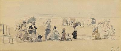 Farmhouse Royalty Free Images - Eugene Boudin  1824-1898  Beach scene 3 Royalty-Free Image by Eugene Boudin