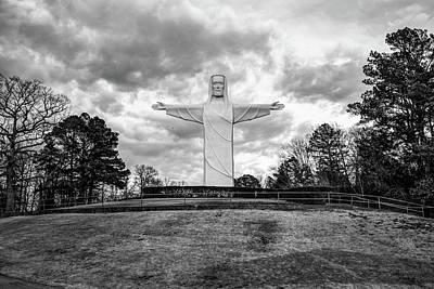 Photograph - Eureka Springs Arkansas Christ Of The Ozarks - Monochrome by Gregory Ballos