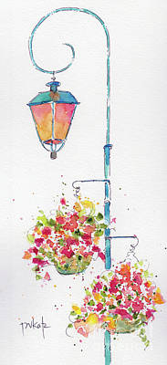 Painting - Euro Street Lamp With Flower Baskets by Pat Katz
