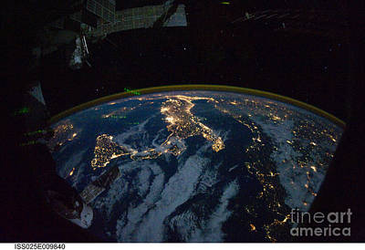 Photograph - Italy From Space At Night by NASA Johnson Space Center