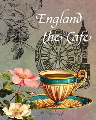 Digital Art - European Cafe England by Loribeth Clark