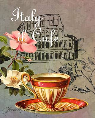 Digital Art - European Cafe Italy by Loribeth Clark