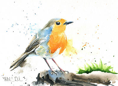 Painting - European Robin by Dora Hathazi Mendes