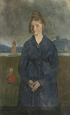 Painting - Eva With Bohus Fortress In The Background by Ivar Arosenius