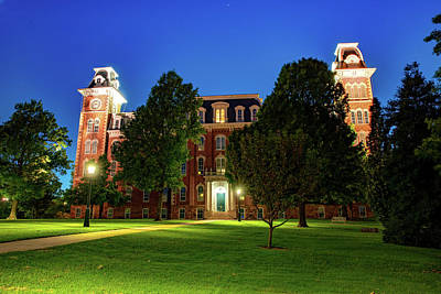 Photograph - Evening At Old Main - University Of Arkansas by Gregory Ballos