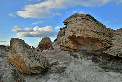 Photograph - Evening Clouds Over Balanced Rocks In Bentonite Site by Ray Mathis